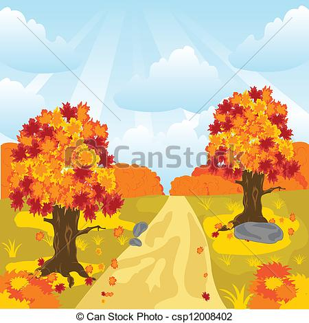 Vector Clipart of Lane in autumn wood.