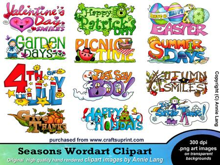 Seasons Wordart Clipart on Craftsuprint designed by Annie Lang.