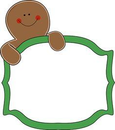 Free lang santa and gingerbread man clipart.