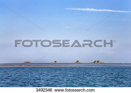 Stock Images of View of terps, Hallig Langeness, Nordfriesland.