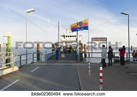 """Stock Photo of """"Pier, holm ferry, small island of Langeness, North."""