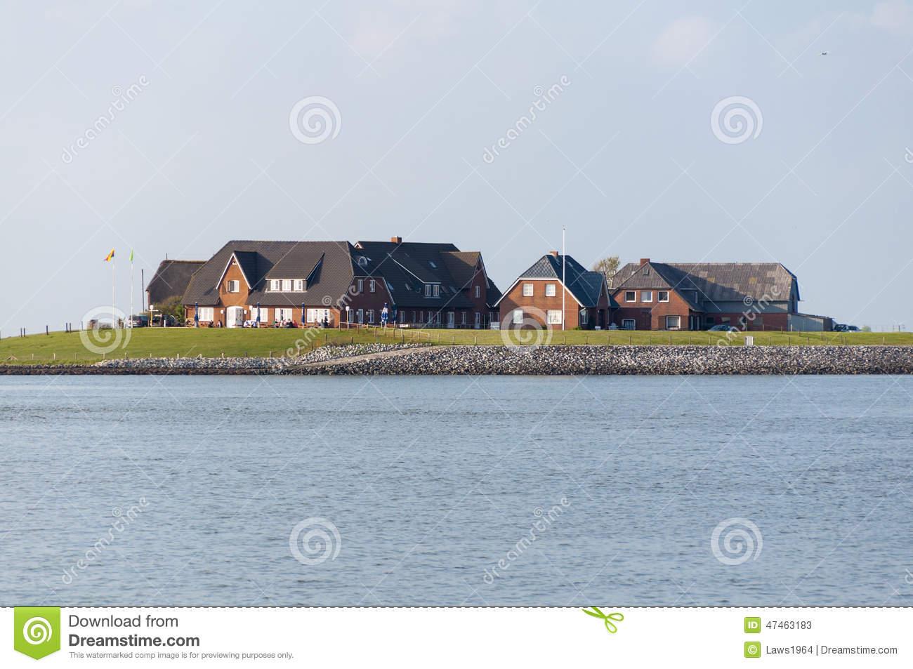 Dwellings On Hallig Langeness Stock Photo.