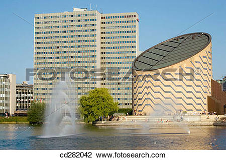 Stock Photo of Scandic Hotel building, left, and Tycho Brahe.