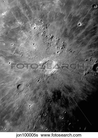 Stock Images of Lunar Crater Copernicus surrounded by impact.