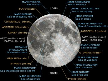 Lunar nearside with major maria and craters labeled.