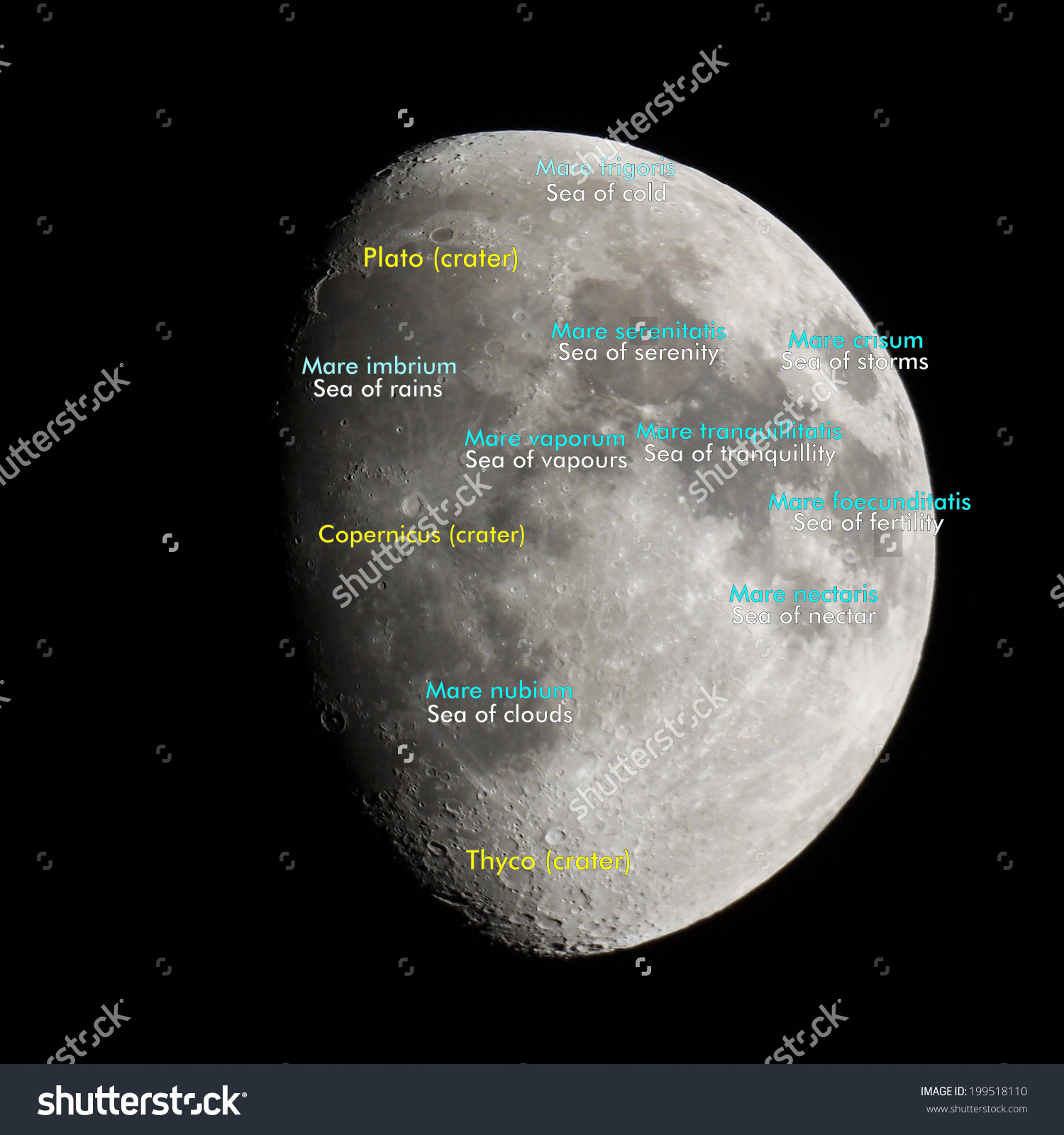 Moon Atlas With Seas And Craters Labels.