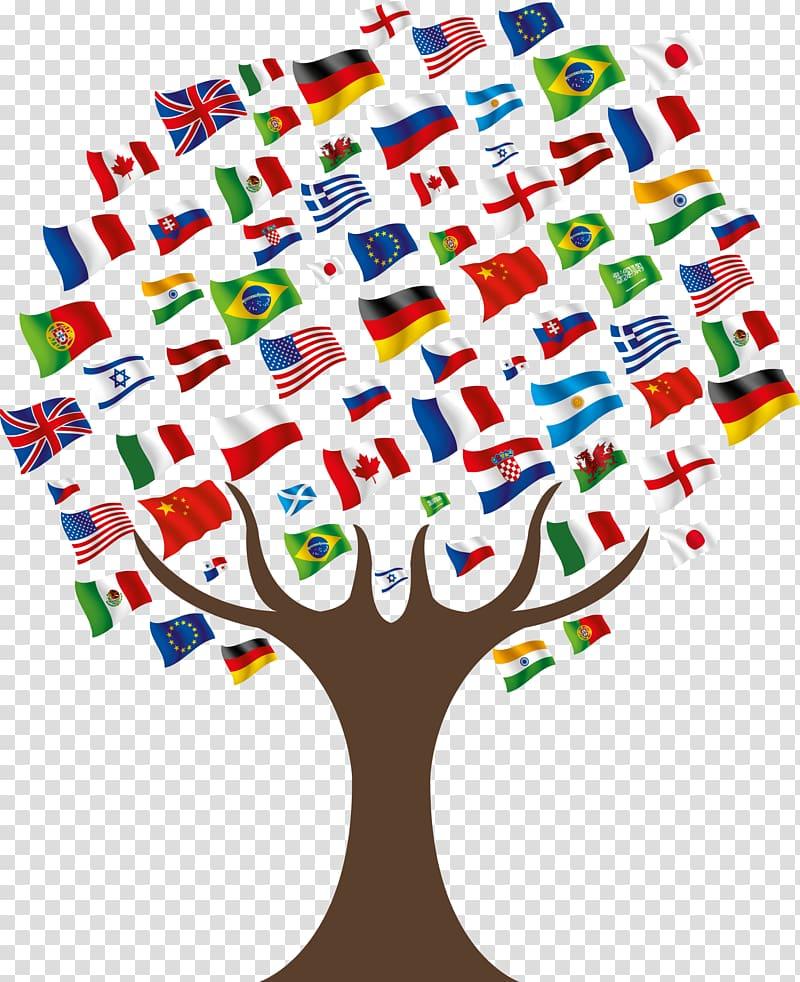Tree flags illustration, United States International student.