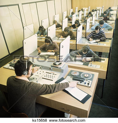 Pictures of 1970S Classroom Students Language Lab Listening.