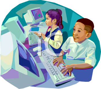 Students in computer lab clipart.