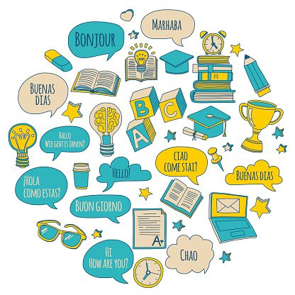 Doodle vector icons Foreing language learning Clipart Image.