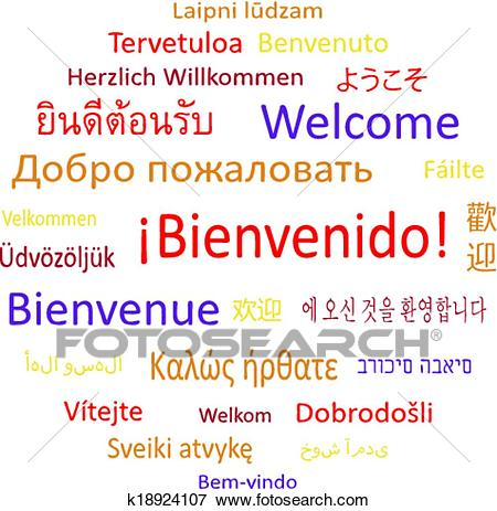 Welcome in different languages. Clip Art.