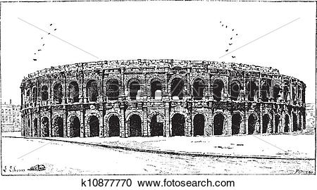 Clipart of Arena of Nimes, in Nimes, Languedoc.