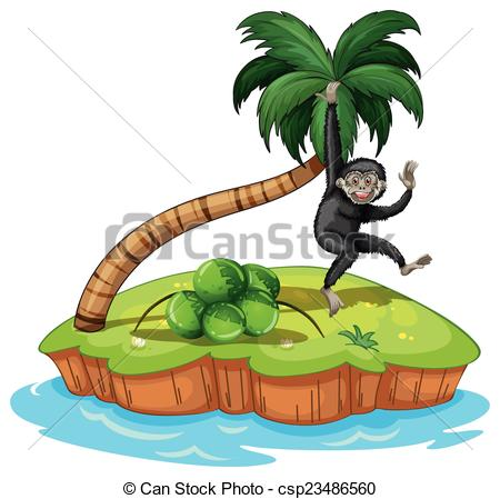 Clip Art Vector of Swinging langur.