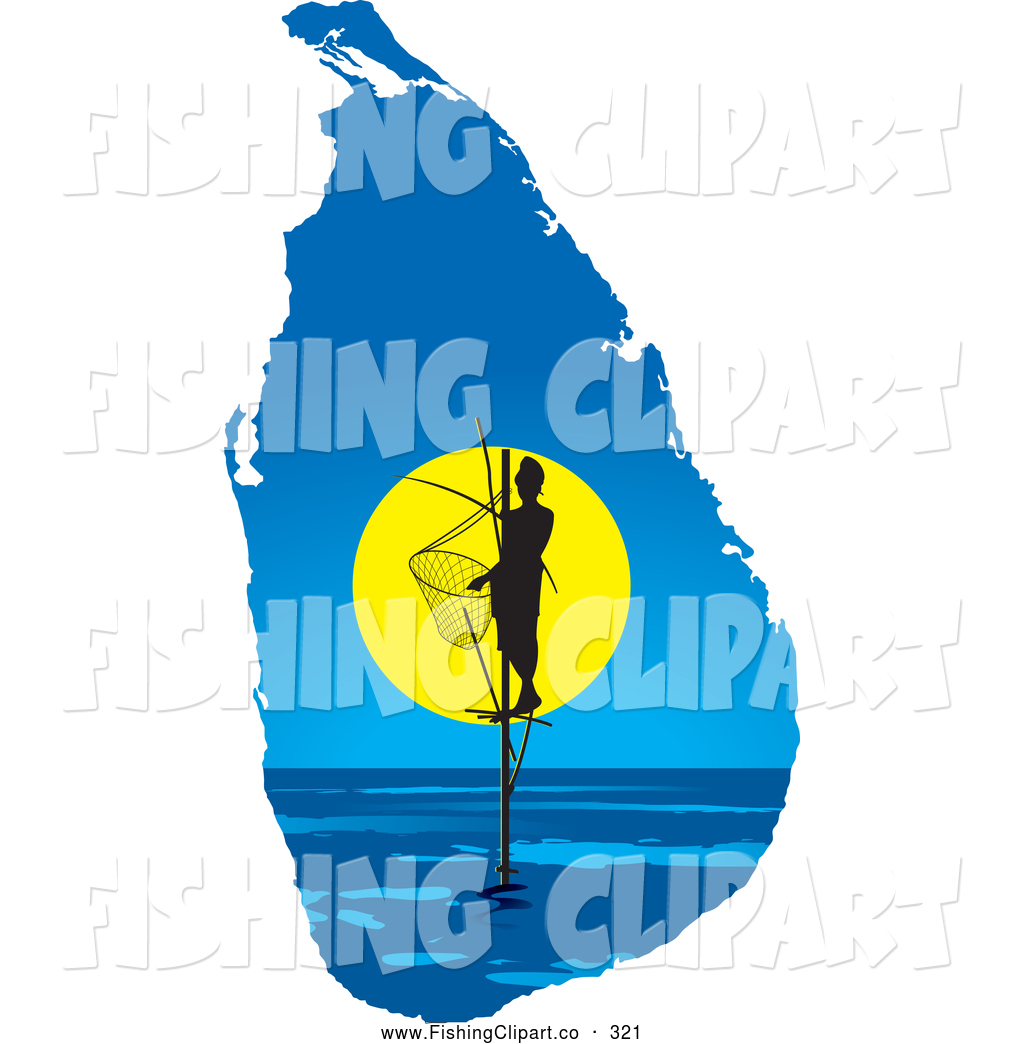 Clip Art of a Friendly Pole Fisherman on a Sri Lanka Map by Lal.