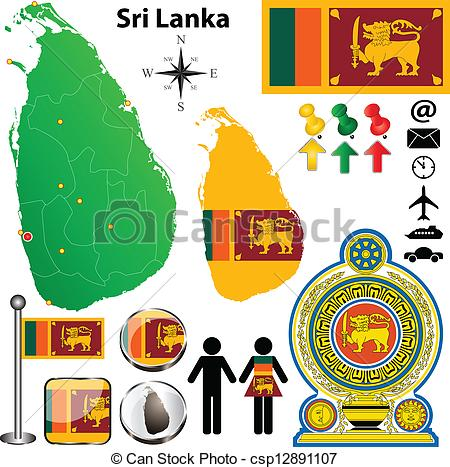 Vector Clipart of Sri Lanka map.