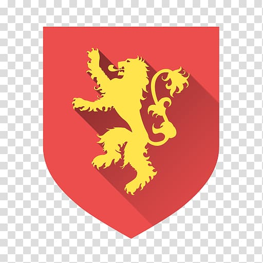 Yellow and red lion icon, computer yellow font, Lannister.