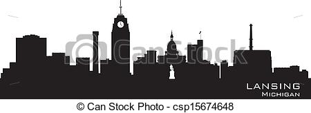 EPS Vector of Lansing Michigan city skyline vector silhouette.
