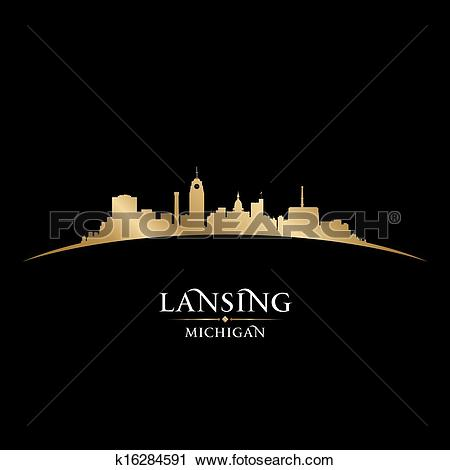 Clipart of Lansing Michigan city silhouette black background.