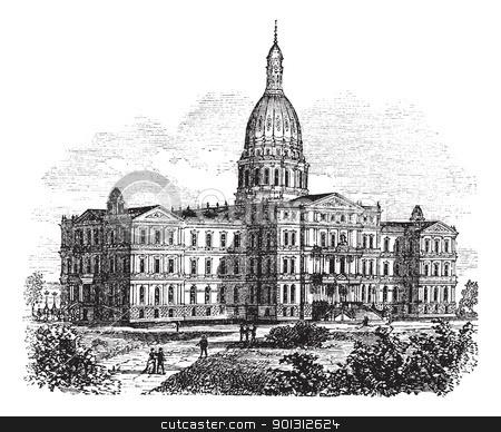 Michigan State Capitol Building. Lansing, United States vintage.