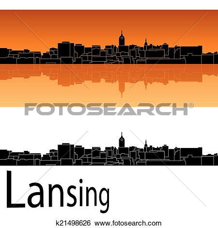 Clip Art of Lansing skyline k21498626.