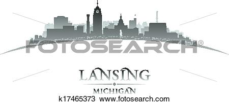 Clipart of Lansing Michigan city silhouette white background.