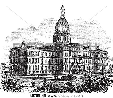 Clipart of Michigan State Capitol Building. Lansing, United States.