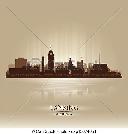 Clipart Vector of Lansing Michigan city skyline silhouette.
