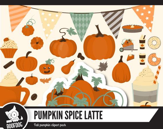 Pumpkin spice latte clipart Fall pumpkin clip by RoofdogDesigns.