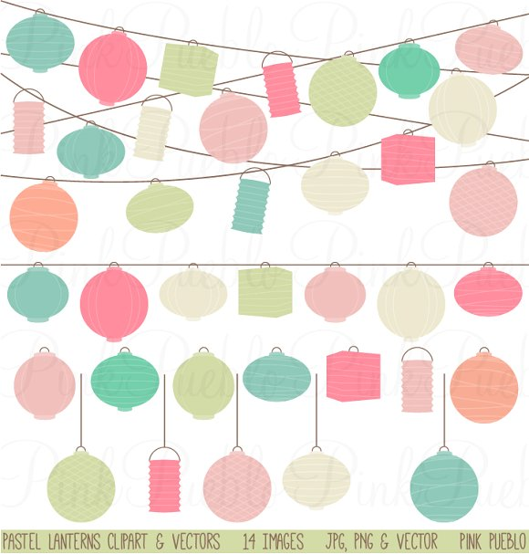 Pastel Paper Hanging Lantern Clipart ~ Illustrations on Creative.