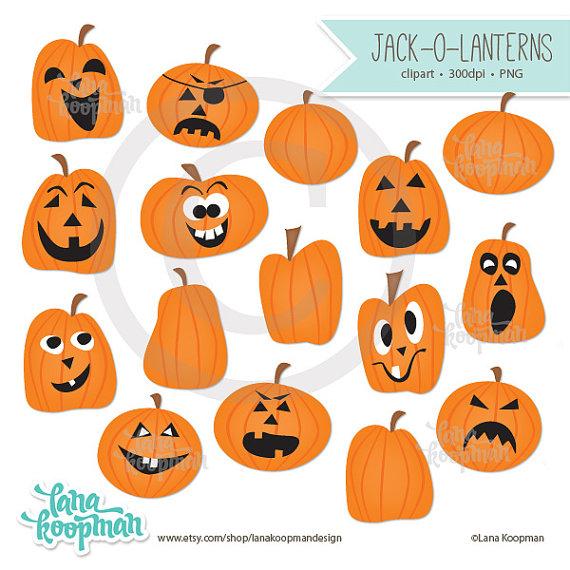 Halloween Digital Clipart Jack o' lantern by LanaKoopmanDesign.
