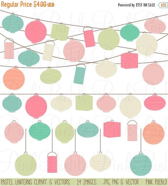 TEACHER SALE Pastel Paper Hanging Lantern Clipart Clip Art.