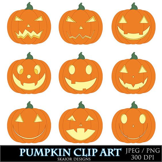 Pumpkin Clipart Halloween Clip Art Digital Jack O Lantern Orange.