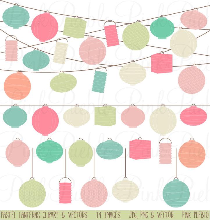 Pastel Paper Hanging Lantern Clipart Clip Art Vectors.