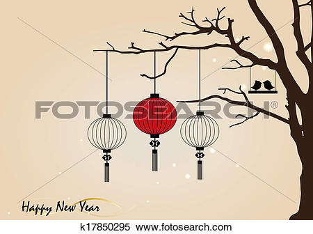 Clipart of Big traditional chinese lanterns will bring good luck.