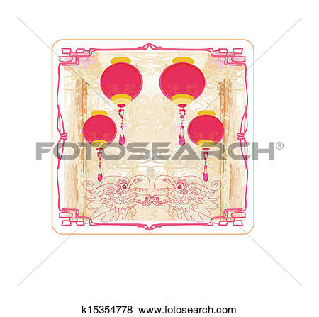 Clip Art of lanterns will bring good luck and peace k15354778.