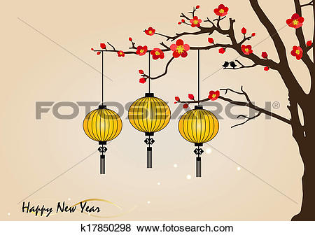 Clip Art of Big traditional chinese lanterns will bring good luck.