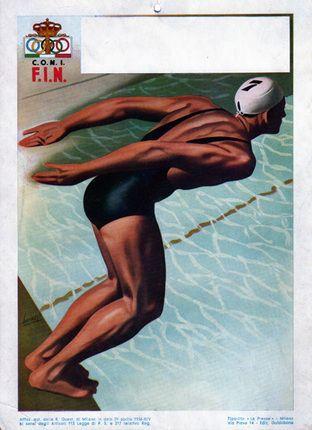 Piscina Coperta Swimmer, 1936. Vintage Olympic poster www.