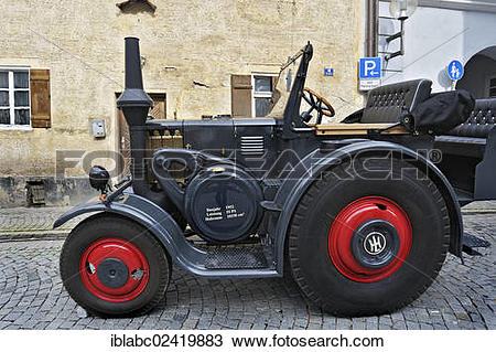 Stock Photo of Lanz Bulldog tractor from 1952, Eichstaett, Bavaria.