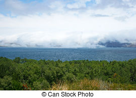 Stock Photos of Fog over Lanzada beach.