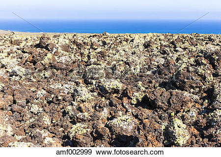 Stock Photograph of Spain, Canary Islands, Lanzarote, Malpais de.