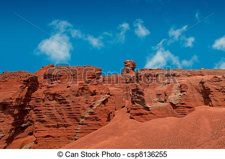 Stock Images of Red volcanic landscape, Lanzarote island.