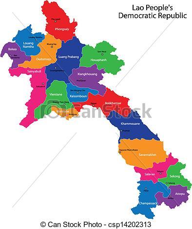 Vector Clip Art of Laos map.
