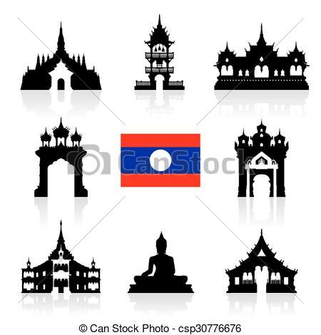 Vectors Illustration of laos Icon Travel Landmarks..