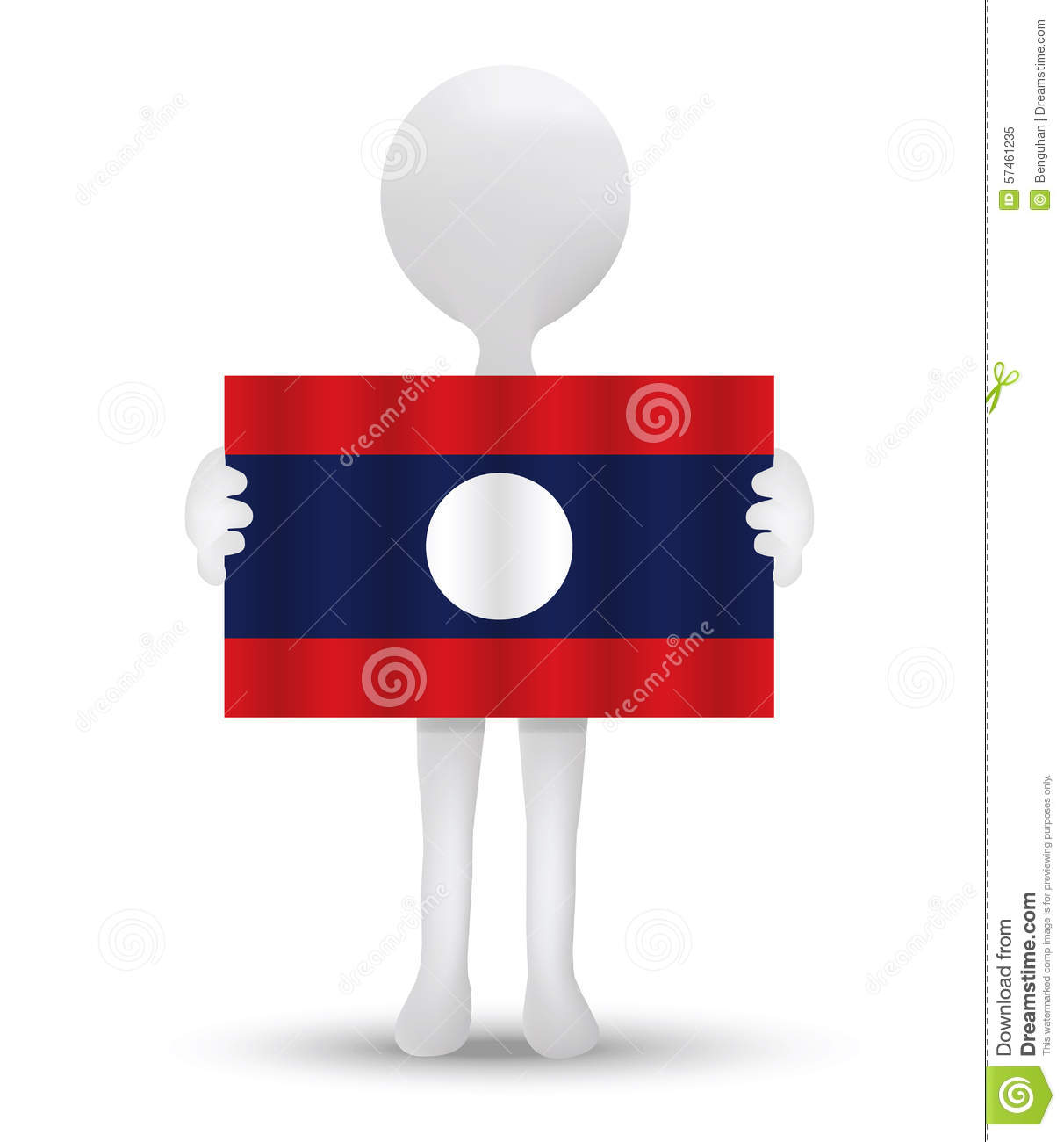 Small 3d Man Holding A Flag Of Lao People's Democratic Republic.