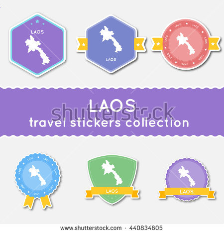 Lao People'S Democratic Republic Travel Stickers Collection. Big.