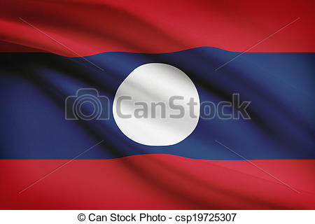 Stock Illustration of Series of ruffled flags. Lao People's.