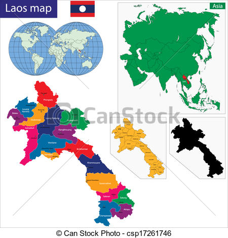 EPS Vector of Laos map.
