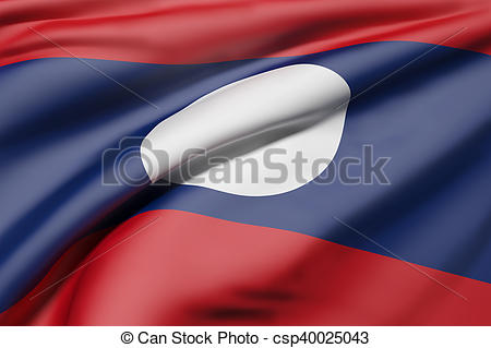 Drawing of Lao People's Democratic Republic flag waving.