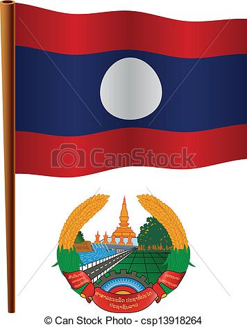 Clip Art Vector of laos wavy flag and coat of arm against white.