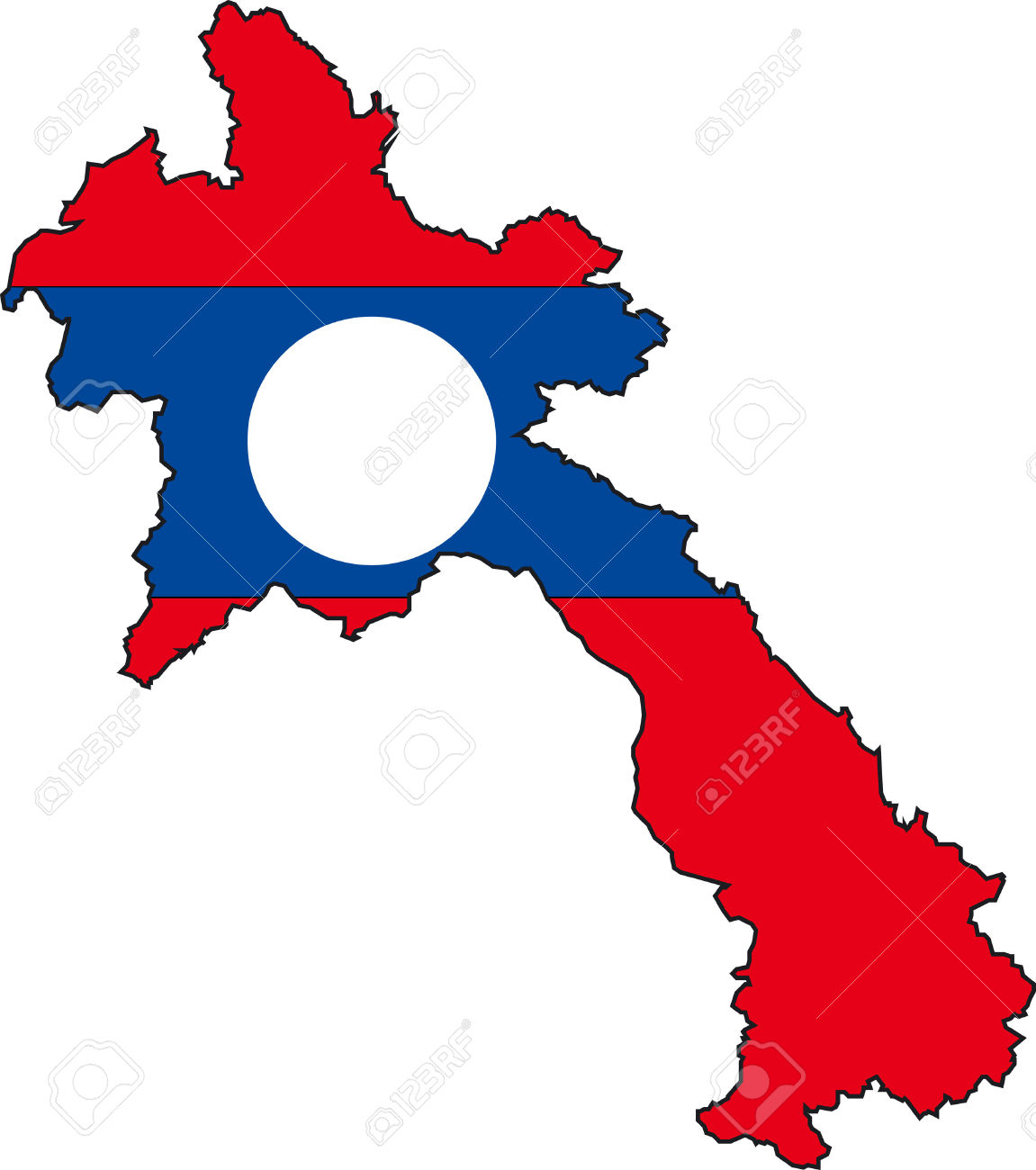Illustration Vector Of A Map And Flag From Laos Royalty Free.